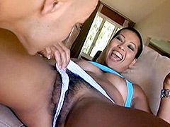 Asian milf with shaved head gets strong cock in hairy pussy