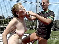 Haired busty granny womensucking hard dick outdoor