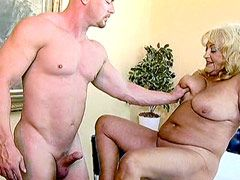 Blonde granny babe hard fucked by hot cock on table