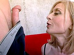 Hot bigtits blonde mature in black stockings gets cock in wet pussy
