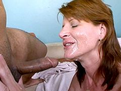 Redhead housewifes babe in black stockings gets black cock..