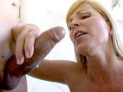 Blonde wife in black stockings suck strong cock for hot..
