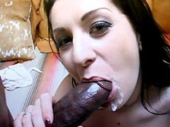 Pretty brunette milf gets monster long..