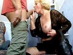 Big tits granny whore sucking cock and wild doggystyle..