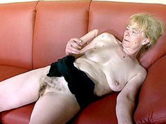 Very hairy granny gets hardcore sex and facial cumshot
