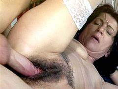 Granny chick in white stockings gets young hot dick in hairy beaver