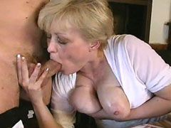 Blonde mature with nice nipples fucked on table