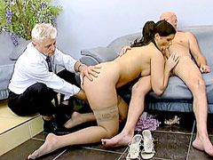 Two old mans hard fucked busty brunette housewife babe on..