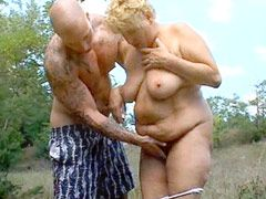 Blonde fatty mature hairy old pussy suck cock and hardcore fucking outdoor