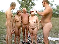 Two old mature bitches sucking and fucking hard groupsex outdoor