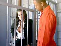 Busty brunette milf in black stockings babe gets huge black long cock in prison