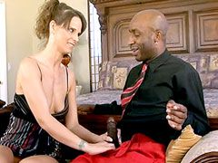 Sexy milf housewife babe licking huge black cock and hard fucked on sofa