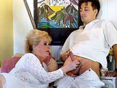 Blonde granny with hairy beaver sucking young cock and gets hardcore fucked