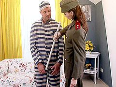Sexy milf babe in uniform suck big cock and fucked hairy..