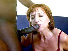 Horny redhead mature babe getting gigantic huge black cock..