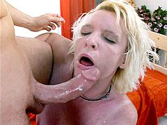 Hungry blonde mature bitch sucking cock and hardcore anal..