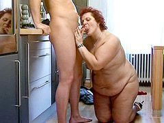 Redhead fat chubby mature babe gets hardcore fucked on table