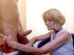 Blonde granny jerking cock and fucking..