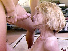Blonde granny babe housewife jerking cock and fucking at..