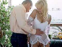 Sexy blonde mom in white stockings gets big cock hardcore anal sex