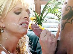 Sexy blonde mom in white stockings gets big cock hardcore..