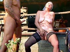 Two older bitch gives blowjob to hot cock and getting..