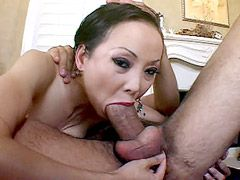 Busty asian milf gets face fuck and hard bang in shaved..