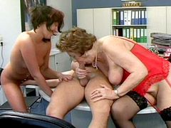 Two granny ladies gives hard blowjob and hardcore sex in office