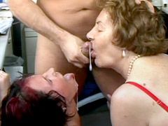 Two granny ladies gives hard blowjob and hardcore sex in..