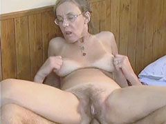 Old mama in glasses sucks cock and undressing for anal..