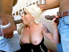 Two black monster cocks hardcore fucking all holes blonde milf lady and cum facial