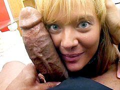 Big black monster cock banged sexy blonde milf babe on sofa