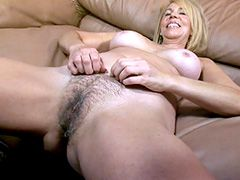 Blonde mature babe gives blowjob and gets strong cock in hairy pussy