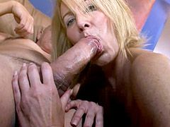 Blonde mature babe gives blowjob and gets strong cock in..