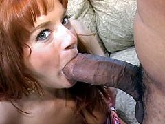 Redhead milf babe gets hardcore interacial sex and facial..