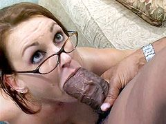 Sexy beauty wife babe in glasses gets hard cock in hairy..