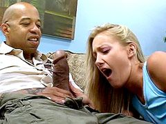 Beautiful sexy blonde milf suck huge black dick and gets in wet pussy