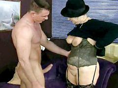 Blonde horny granny lady hardcore fucked and creampied