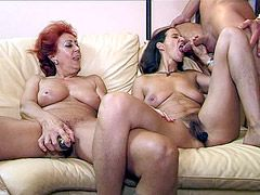 Two old matures gives hard blowjob and hardcore sex