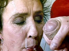 Granny bitch suck dick and get hardcore sex and facial cum