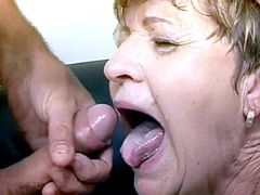 Old granny bitch gives blowjob and gets hard dick in..