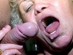 Older blonde lady eating strong cock and gets hardcore fucked on bed