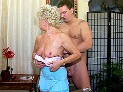 Older blonde lady eating strong cock and gets hardcore..