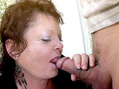Redhead granny with very hairy holes hardcore anal fucking on sofa