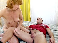 Redhead granny babe gives blowjob and gets hard dick in hot ass