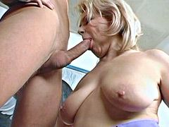 Young cock banged blonde granny woman for hot facial cumshot