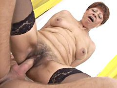 Old granny bitch in black stockings gets hard dick in..