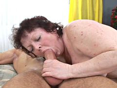 Fat brunette hairy granny gets hard dick and hairy pussy cum