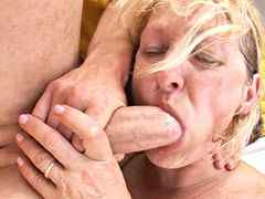 Hot blonde granny chick rides young dick and gets pussy cum