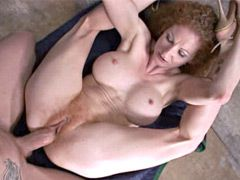 Redhead big titts mom gives hot blowjob and gets big dick..